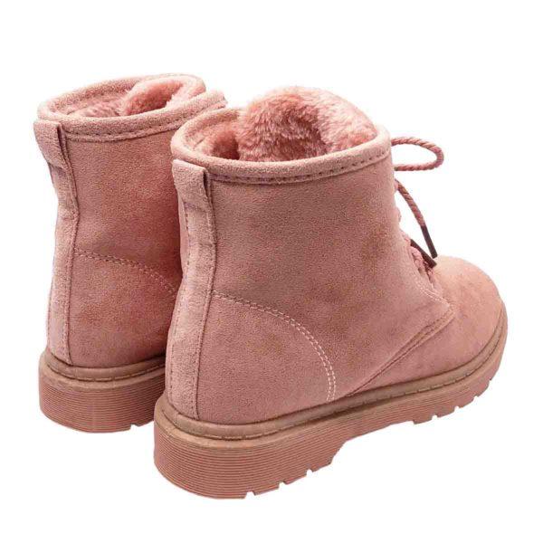 レースアップ ムートン ショート ブーツ 【ピンク】